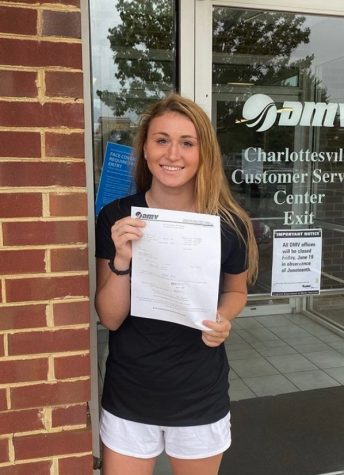 Sophomore Olivia Gay holds up her new learners permit